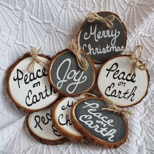 Set of 3, Double-Sided Wood Slice Ornaments